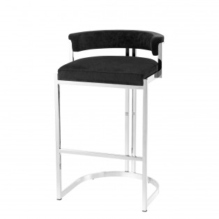 HOKER Counter Stool Dante black velvet 48,5X46,5X81CM