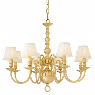 Chandelier Bourbon polished brass incl shades 85X75CM