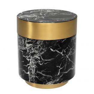 STOLIK Side Table Caron faux black marble brass finish