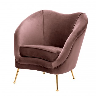 FOTEL Chair Cambiano roche faded rose velvet