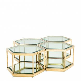 STOLIK COFFEE TABLE SAX GOLD SET OF 4 60x52x36cn