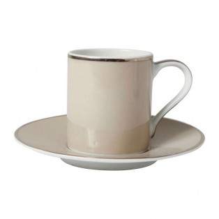 COTE TABLE Coffee cup&saucer ginger pearl+platin 10cl porcel